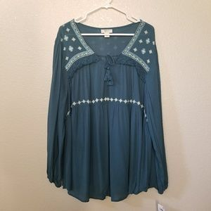 Style & Co Western Trail Tie Front Long Sleeve